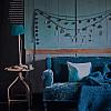 Wooden table lamp aqua
