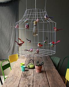 Hanglamp met vogels eettafel | hanging lamp with birds dining table by www.DutchDilight.com