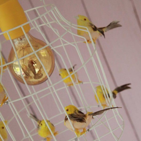 birds hanging lamp yellow birds kidsroom