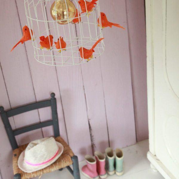 orange birds hanging lamp kidsroom