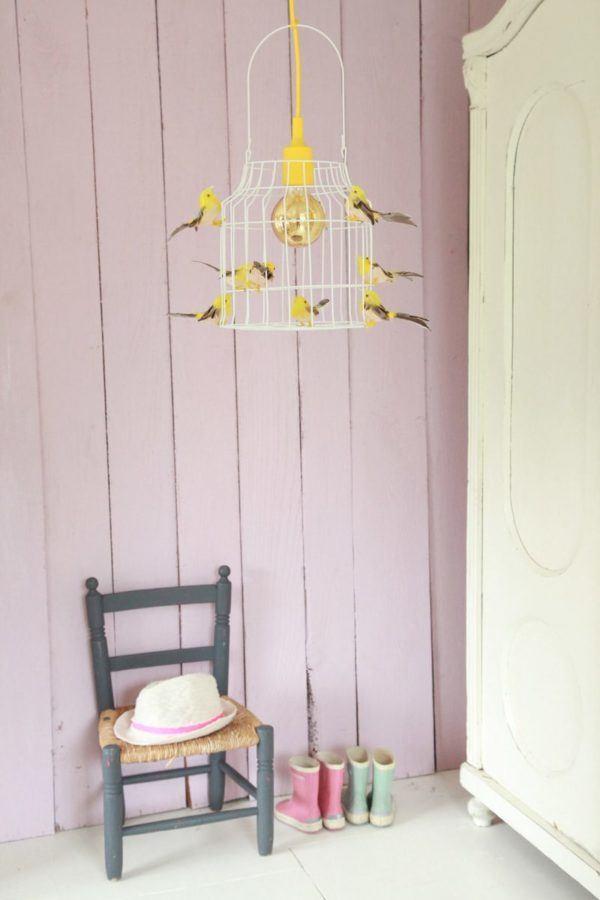 birds hanging lamps yellow