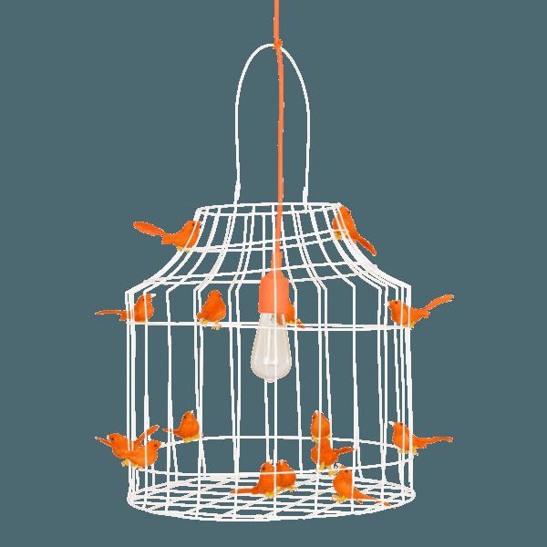 white pendant light birds orange