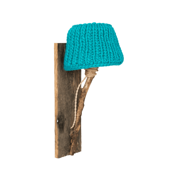 wooden wall lamp turquoise