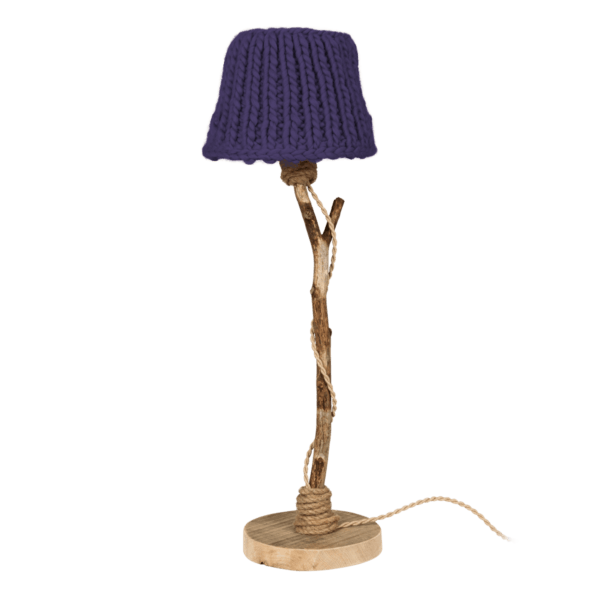 wooden table lamp purple knitted lamp shade
