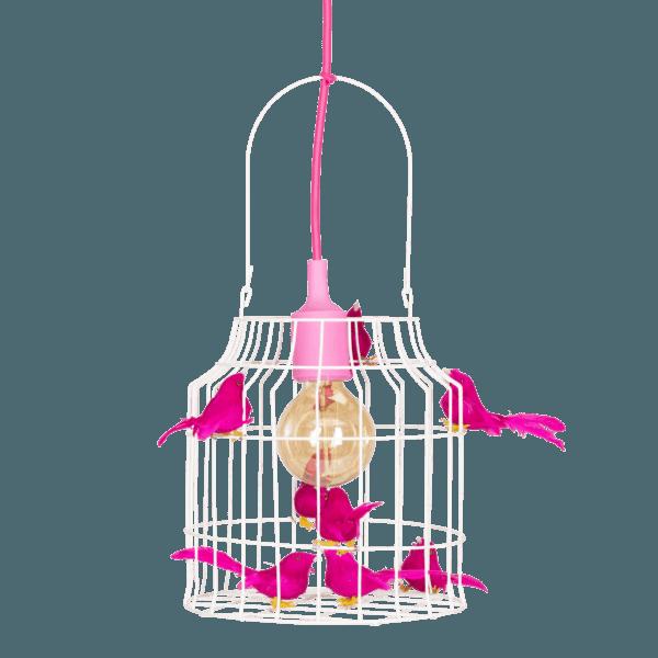 birds hanging lamp fuchsia