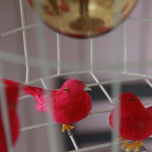birds hanging lamp pink