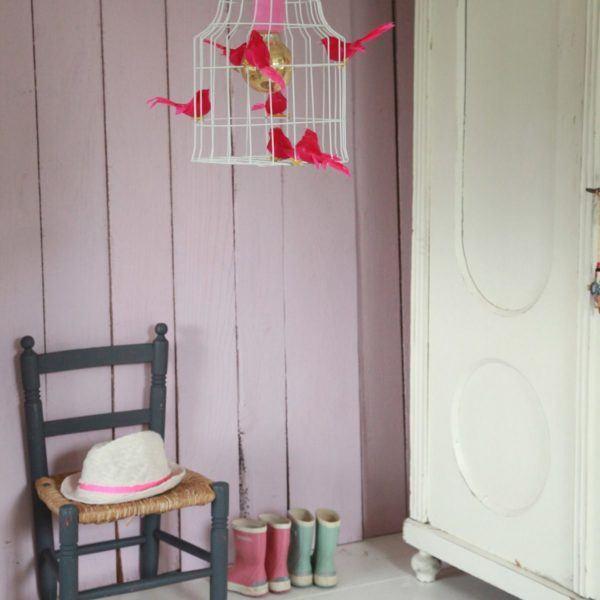 birds hanging lamp pink girlsroom