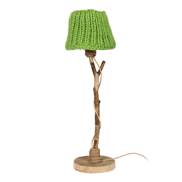 wooden table lamp apple green