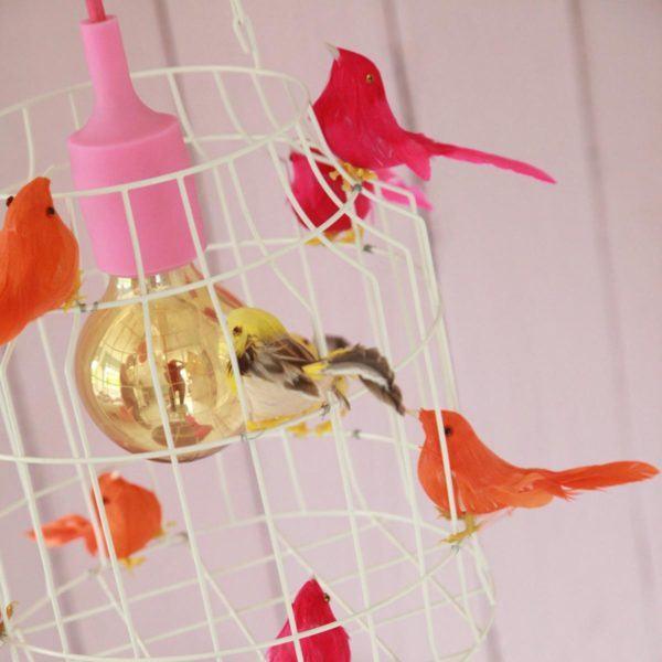 birds lamp neon kidsroom pink